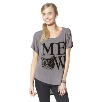 Junior's Meow Graphic Tee - Charcoal
