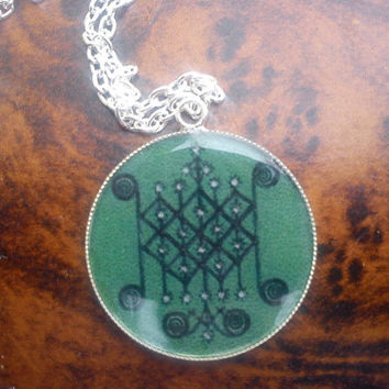 Powerful Voodoo Veve of Ogun pendant. Rules over employent .For great power. Win in battles.For strength
