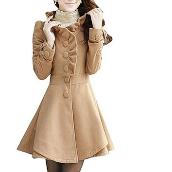 Women's Wool Blends Coat Slim Coat Long Jacket rose
