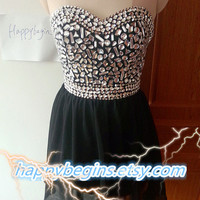 Short black beaded homecoming dress, open back homecoming dress
