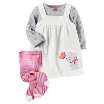 ONETOW Baby Girl Carter's Print Tee, Corduroy Jumper & Tights Set | null