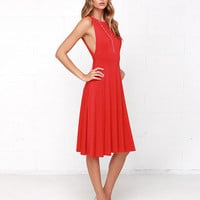 Red V-Back Sleeveless Casual Dress with Pleated Skirt