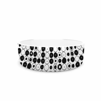 "Nandita Singh ""Black & White Funny Polka Dots"" White Abstract Pet Bowl"