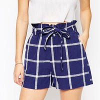 ASOS High Waisted Linen Check Belted Shorts