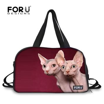 FORUDESIGNS Luggage Travel Bag for Women 3D Hairless Cat Duffel Female Large Travel Duffel Bag Tote Canvas Weekend Bags Casual