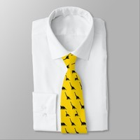 Black dinosaur Animal Pattern on yellow background Neck Tie
