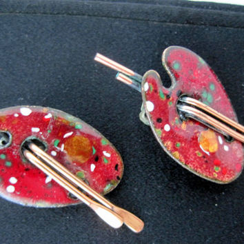 Vintage Matisse Renoir Copper Artist Palette Earrings