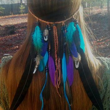 Thunder Bird, Feather headband, native, american, style, indian , hippie headband, bohemian headband, wedding, feather veil, turquiose