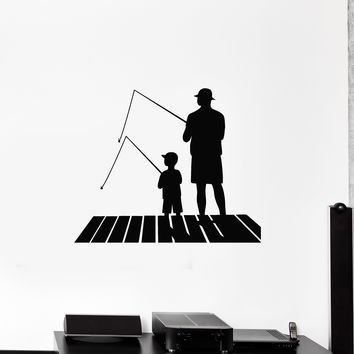 Vinyl Wall Decal Fishing Father and Son Silhouette Hobby Fishing Rods Stickers Mural (ig5539)