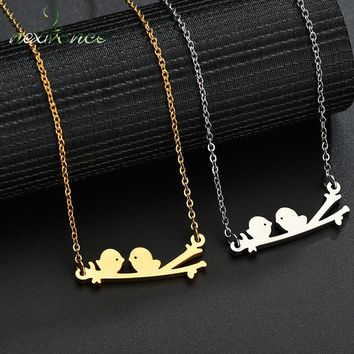 Nextvance Simple Love Bird on Branch Pendant Necklace Pigeon Swallow Birdie Dove Animal Necklaces for Christmas Gift Colar