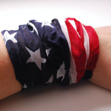 AMERICAN Flag Chiffon Wrist Cuff Dark Blue Jersey Wrist Bracelet Fashion accessory Women Teens Wrist Tattoo Cover