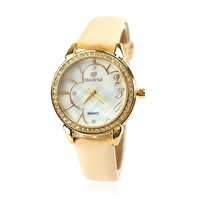 ZLYC Camellia Rhinestone Studded Ladies Quartz Wrist Watch