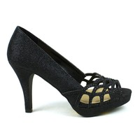 Celeste Melissa-03 Embellished Laser-cut Dress Pump in Black @ ippolitan.com