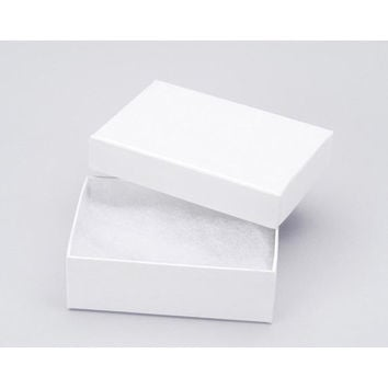 50 White Jewelry Gift Boxes, Jewelry Display Boxes, Jewelry Presentation Boxes, Cotton Filled, 3 1/6'' x 2 1/8'' x 1''H