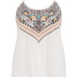 Plus Size - Multicolor Graphic Print And Embroidered Tank - White