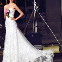Of lace strapless wedding dress,wedding gown,special wedding dress, Model 1015