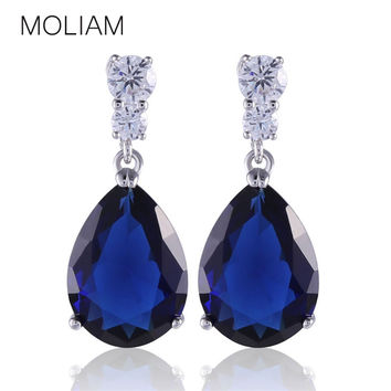MOLIAM Engagement Earrings for Women Silver Plating AAA Cubic Zircon Crystal Drop Dangle Earings E036