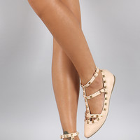 Liliana Studded Caged Pointy Toe Ballet Flat