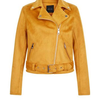 Yellow Suedette Biker Jacket