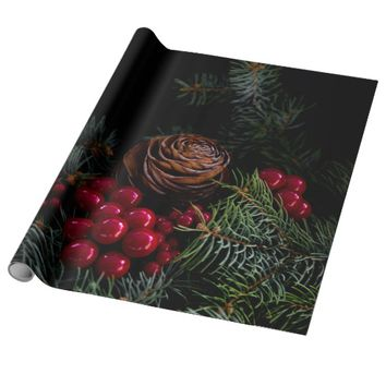 Chritsmas with pinecone , berries and pine needles wrapping paper