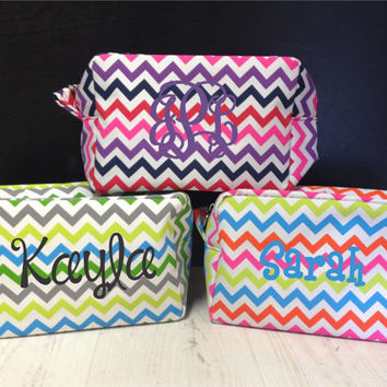 Monogrammed Multi-color Chevron cosmetic Bag