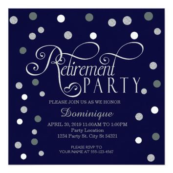 Navy, Silver, White Retirement Party Invitations