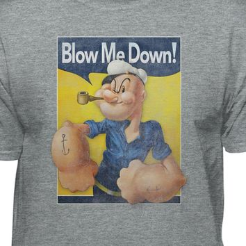 Popeye The Sailor Man Blow Me Down Men's Gray Short Sleeve T-shirt