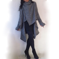 Poncho Italian Blended Wool / Sweater Cape / Coat / Pocho  Stylish Poncho Blended Wool