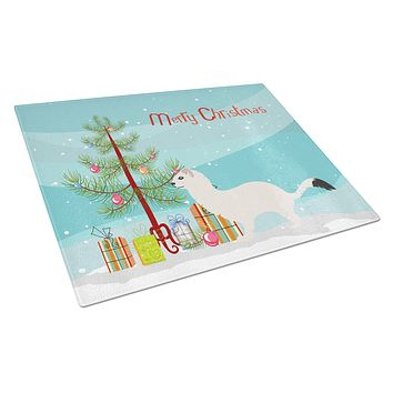 Stoat Short-tailed Weasel Christmas Glass Cutting Board Large BB9239LCB