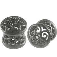 0G 0 gauge 8mm - Black Alloy Double Flared Flare Ear Plugs Flesh Tunnels Earlets ADFU - Ear stretched Stretching Expanders Stretchers - Pierced Body Piercing Jewelry BKT-018 - Sold as a Pair