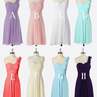 Bridesmaid Dresses/ Gown in Various Colors - Short Dress - Plain Chiffon Dress - Purple, Pink, White, Aqua, Coral, Red, Blue, Black