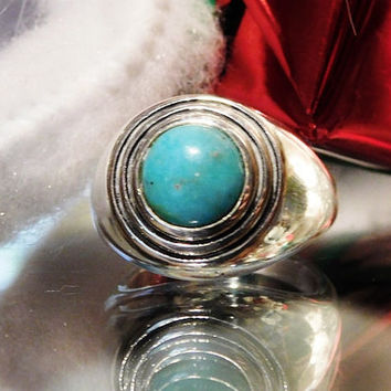 Barse Turquoise Ring Sterling Silver Statement Modernist Vintage Ring Southwestern Western Gemstone Gem BOHO Circle Round Fashion Ring
