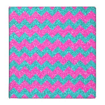 Pink Turquoise  Girly ZigZag Glitter Photo Print Binders
