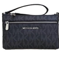 GK4S2 Michael Kors Jet Set Travel Large PVC Wristlet in Black