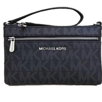 DCK4S2 Michael Kors Jet Set Travel Large PVC Wristlet in Black