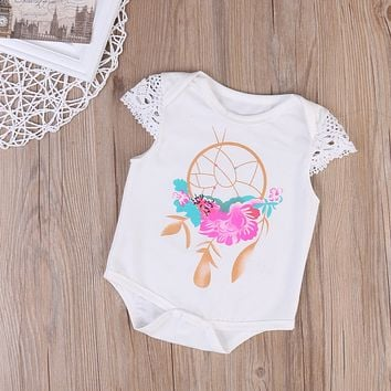 Newborn Baby Girls Clothing Bodysuit Cotton Cap Sleeve Summer Infant kids Bodysuit Jumpsuit Lovely Girl White Sunsuit
