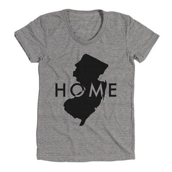New Jersey Home Womens Athletic Grey T Shirt - Graphic Tee - Clothing - Gift