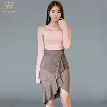 H Han Queen New 2 Piece Sets Women Off The Shoulder Crop Tops And Skirt Set Slim Ruffles Irregular Work Casual Pencil Skirt Suit