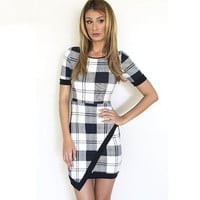Woman Fashionable Square Cross Design One Piece Dress a10629