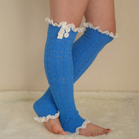 Cobalt blue knit lace leg warmers boot socks boot cuffs birthday gifts women's accessory christmas gifts high knee sock chunky leg warmers