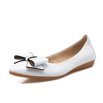 Spring Autumn Women's Shoes Bow Slip On Foldable Ballet Flats Patent Leather Soft Soles