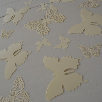 3D Butterflies made of textured card stock in Cream --- Let them fly around in your nursery or dress up your party