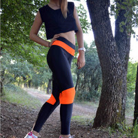 Handmade Black - Neon Orange Leggings Athletic Bottoms Gym Clothes Stretch Leggings Spandex Fabric Sexy Workout Yoga Pants Womens Leggings