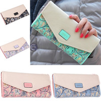 Women Flower Love Long Envelope Leather Purse Wallet Clutch Phone Cash Coin Card = 1931912772