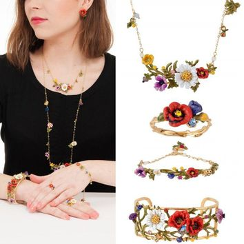 Amybaby 2017 France Pairs Les Nereides Poppy Flower Daisy Ladybird Luxury Necklace Stud earring Ring Bracelet Jewelry Sets