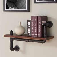 "24"" Montana Industrial Pine Wood Floating Wall Shelf-Armen Living"