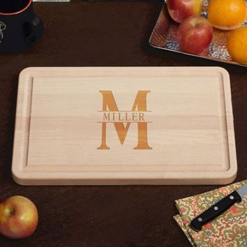 Family Name Engraved Wood Cutting Board, 10 x 16 (1 inch thick maple)
