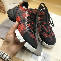DIOR Fashion Women Casual High top Sneakers Sport running Shoes top quality black red