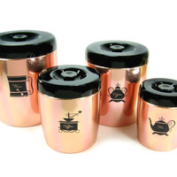 Vintage West Bend Kitchen Canister Set Pink Copper Flour, Sugar, Coffee, Tea