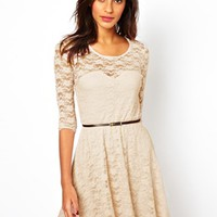 ASOS Skater Dress in Lace With 3/4 Length Sleeves